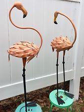 "Pink Flamingo Lawn Ornament Standing Yard Art Garden Metal 41"" Tall Pair NEW"