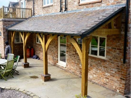green oak lean to porch. Could do this at side versus garage extension. Like…