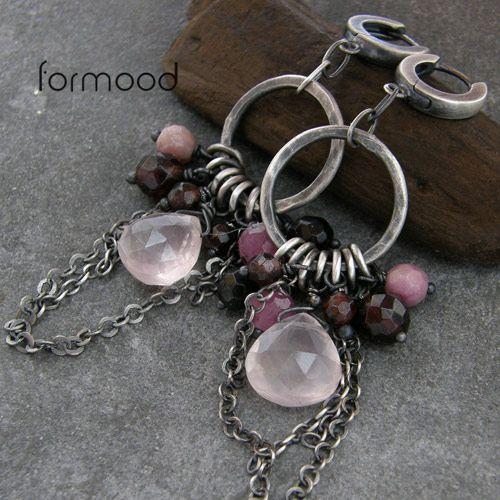 kwarc różowy , rubin, granat i turmalin ... kolczyki Biżuteria Kolczyki formood