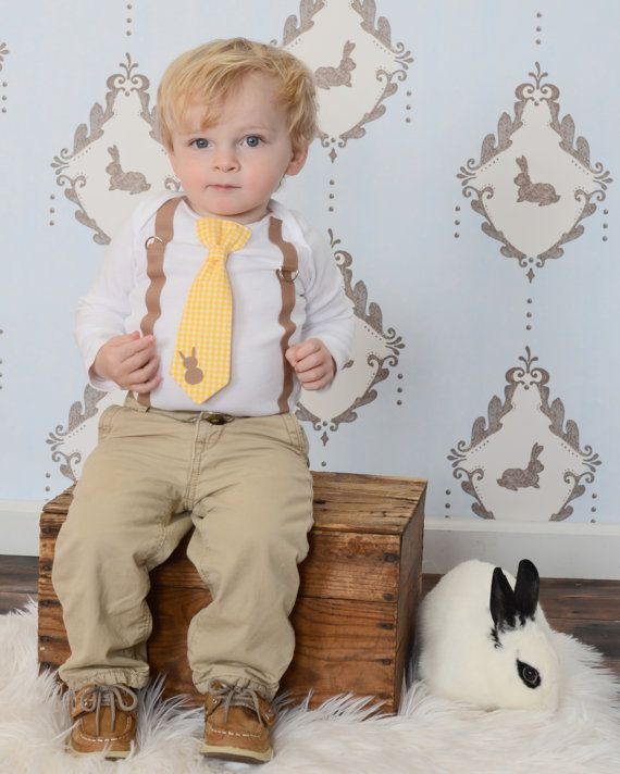 Baby Boy Easter Outfit. Gingham Bunny Spring Tie & Suspender with Rabbit toddler boys. Sizes NB 3 6 9 12 18 24 month 2t 3t 4t 5t 6 8 on Etsy, $25.00