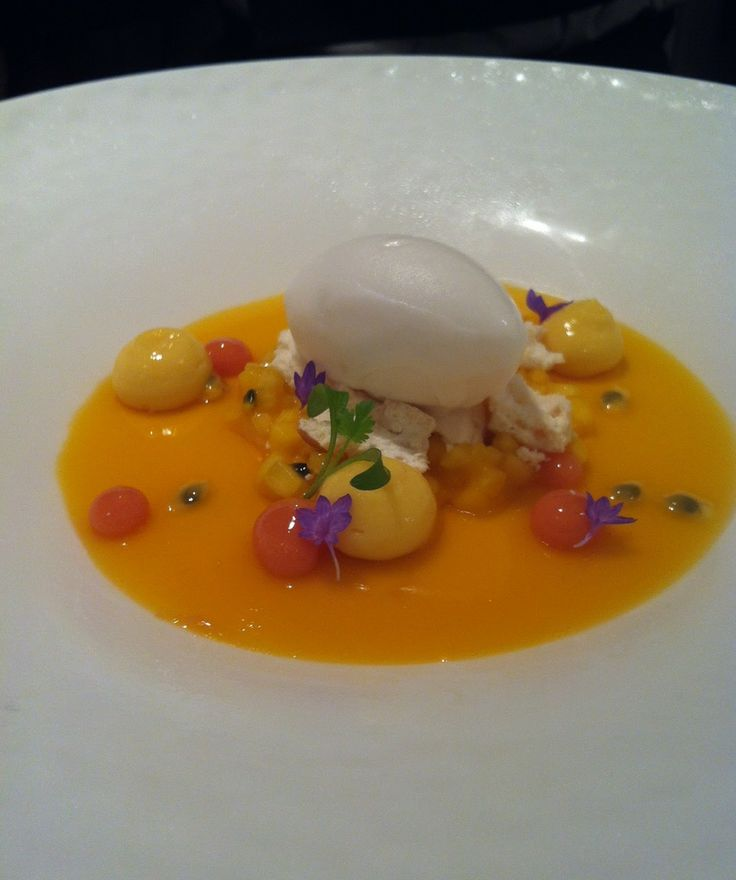 Coconut panna cotta, passion fruit gelee, tropical fruit compote ...