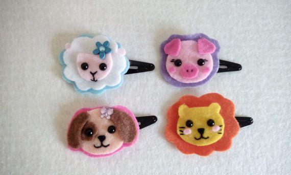 Mollette per capelli dolcissimi animali kawaii di BarbaraCreazioni, €2.75