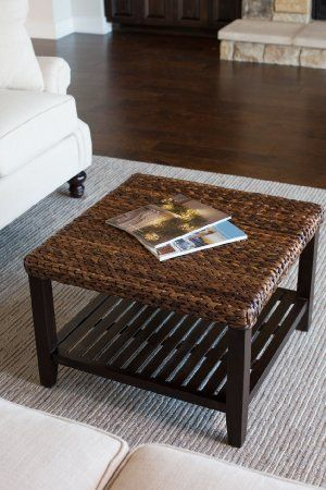 Amazon.com - BirdRock Home Woven Seagrass Coffee Table | Mahogany Wood Frame | Fully Assembled -