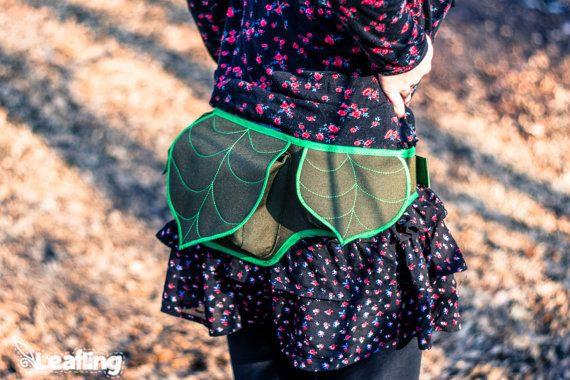 Leaf Fanny Pack Hip Bag Green Psychedelic Festival by LeaflingBags