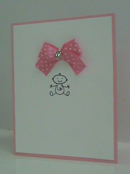So sweet and simple!  An adorable baby, dotted pink bow and a rhinestone for glitz on this handmade Baby card.