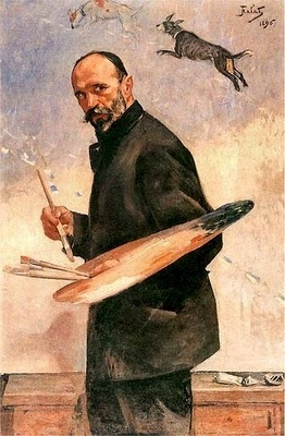 Julian Fałat   Self-Portrait 1896.  he was one of the most prolific Polish painters of watercolor and one of the country's foremost landscape painters as well as one of the leading Polish impressionists. Fałat first studied under Władysław Łuszczkiewicz at the Kraków School of Fine Arts, and then at the Art Academy of Munich