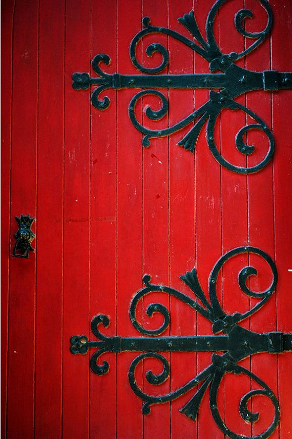 Crimson red church door with decorations, found in Manchester, original, signed Fine Art photo giclee print (Home Decor)