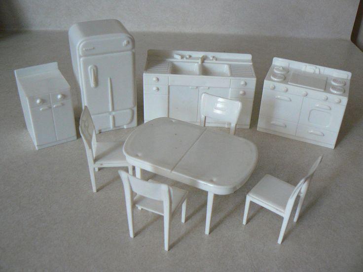 Marx Kitchen Furniture 9 Pieces Plastic Doll House Miniature 1950 60s  Vintage #marx