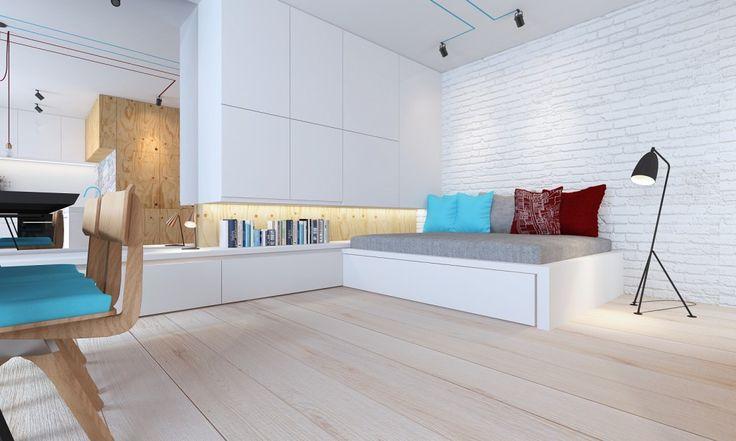 jedna z szaf kryje w sobie małe kino domowe - wysuwany TV można dowolnie ustawiać np.w kierunku jadalni lub sofy
