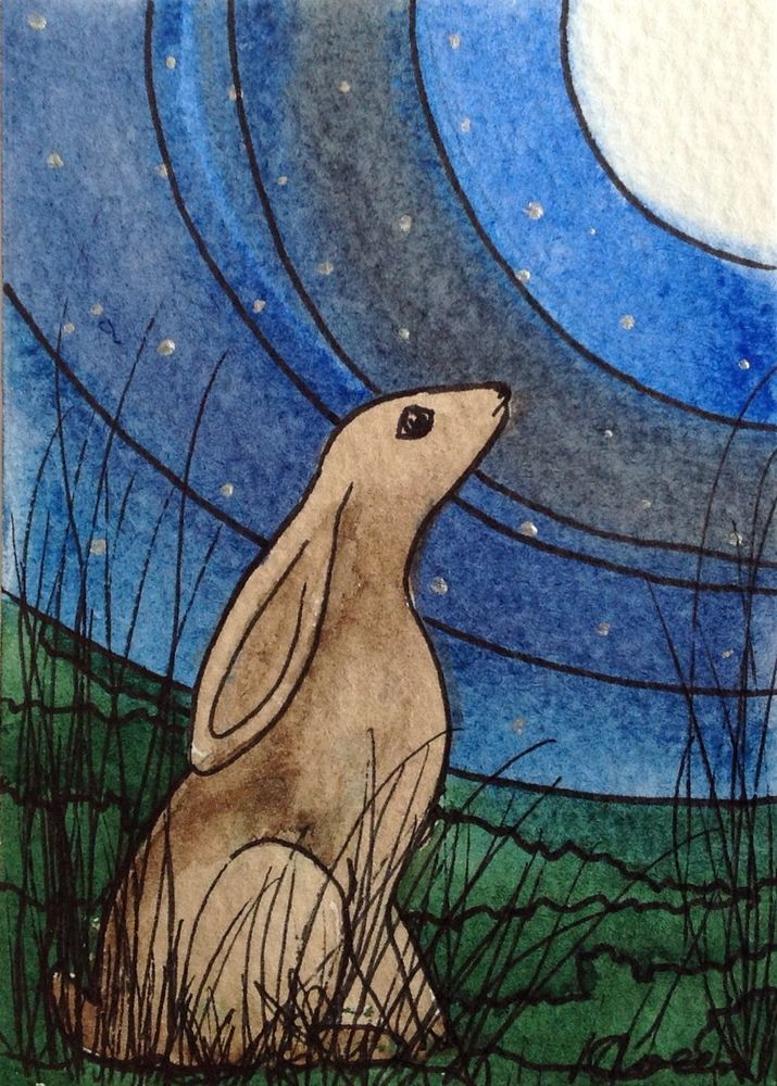 ACEO Moon Gazing Hare Moongazer 7 , Watercolour/ Pen Art By Katie Green