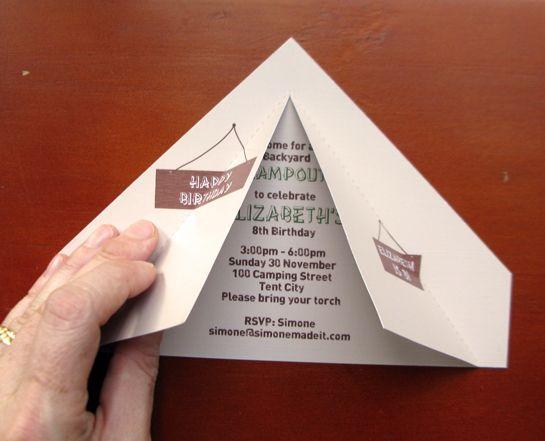 camping tent invitation tutorial