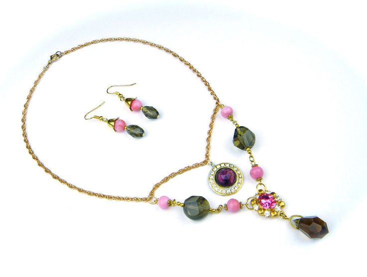 Antique Vintage Art Deco Czech Glass Gold Tone Necklace Pendant Earrings Set #Pendant