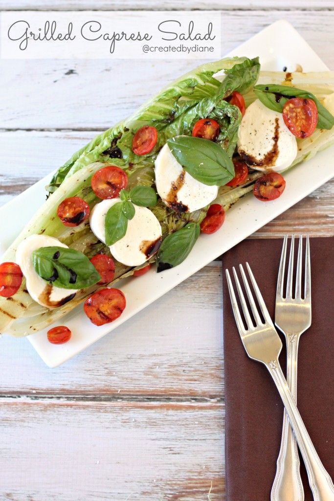 Caprese salad gets an update with a bed of grilled romaine lettuce, what a delicious and easy salad to make anytime
