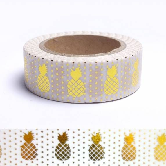 Masking tape ananas dorés sur fond blanc