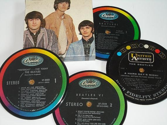 The Beatles Coaster Set Vinyl Record Coasters Christmas