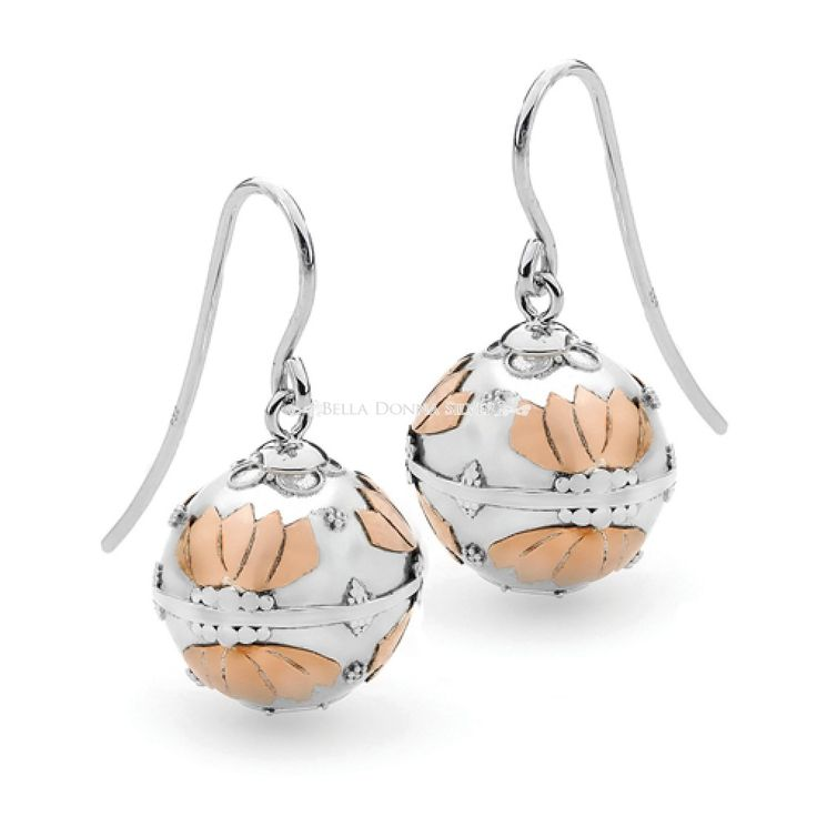 Copper Lotus Harmony Ball Earrings by Bella Donna Silver