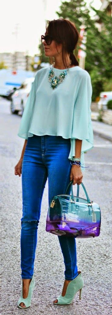 Spring Outfit. Cyan top blouse, blue jeans, heels, glossy handbag. Street women fashion outfit clothing style apparel @roressclothes closet ideas