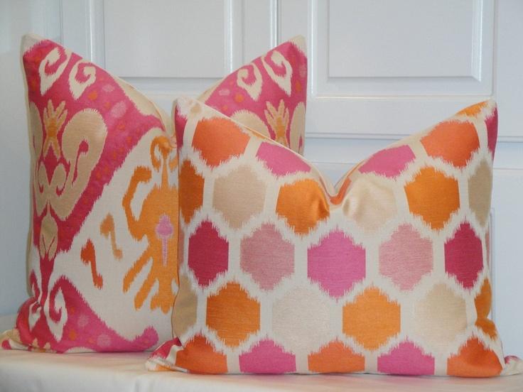 Orange And Pink Decorative Pillows : Decorative Pillow Cover - 16 x 20 - IKAT - Accent Pillow - Throw Pillow - Geometric - Orange ...