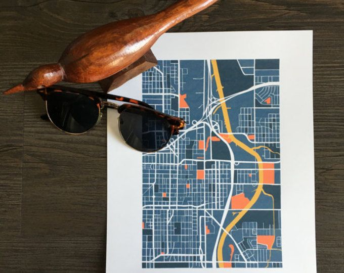 Check out this awesome print of Oklahoma City street maps, inspired by the OKC Thunder blue orange and yellow, and the states stormy history.   Browse unique items from ShoeBoxStudioShop on Etsy, a global marketplace of handmade, vintage and creative goods.