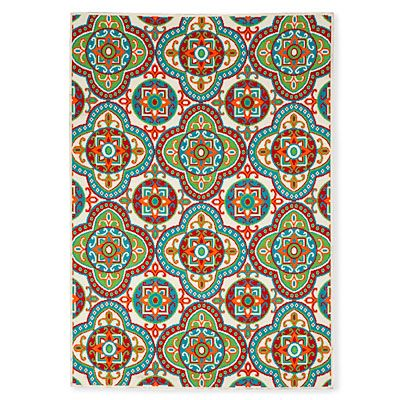 "59"" x 84"" Damien Style Snow & Multi Patio Rug at Big Lots"