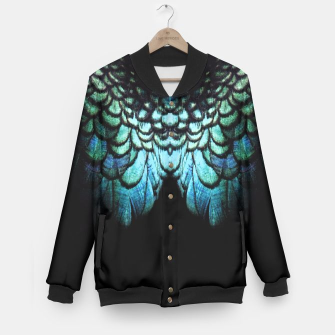 blue feathered collier Baseball Jacket  #liveheroes #clothing #blue #feathered #bird #peacock #wings #fashion