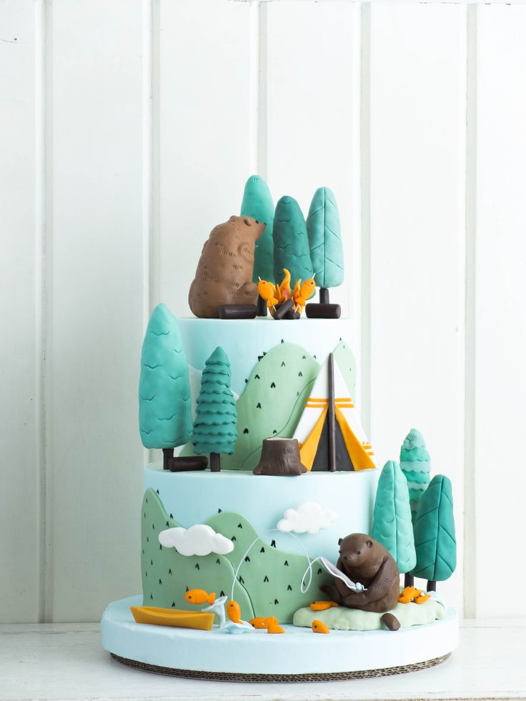 Cake inspiration - Camping Bears and Forest Treats | Cottontail Cake Studio | Sugar Art