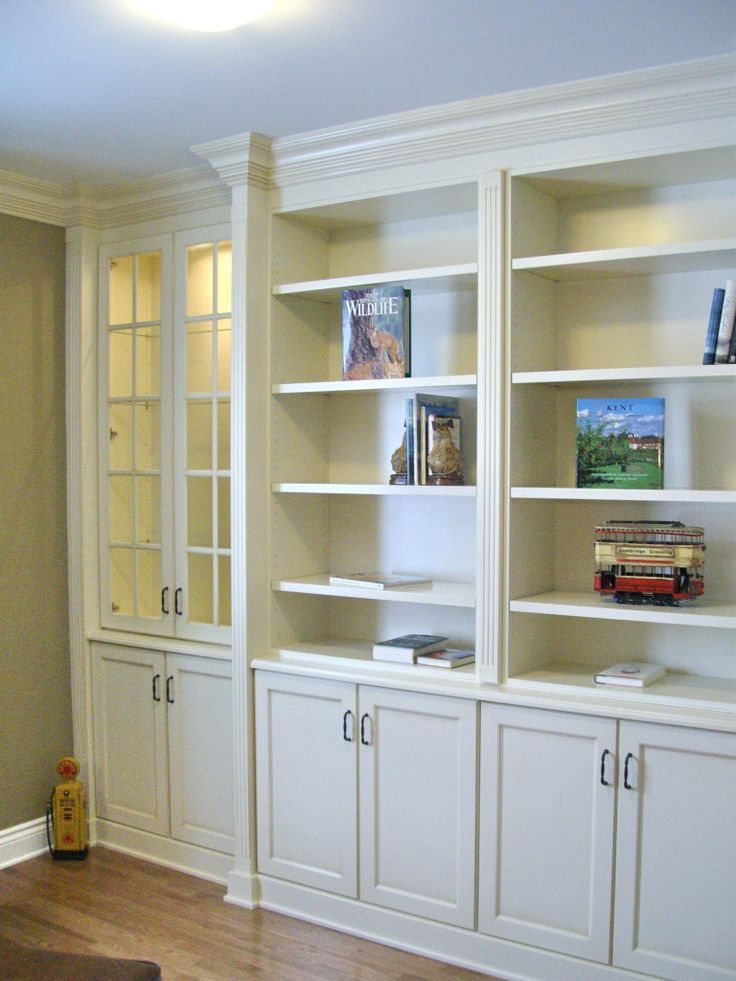 Built In Bookcases With Fluted Column Detail Amp Large Crown Antique White Glazed Lacquer Finish