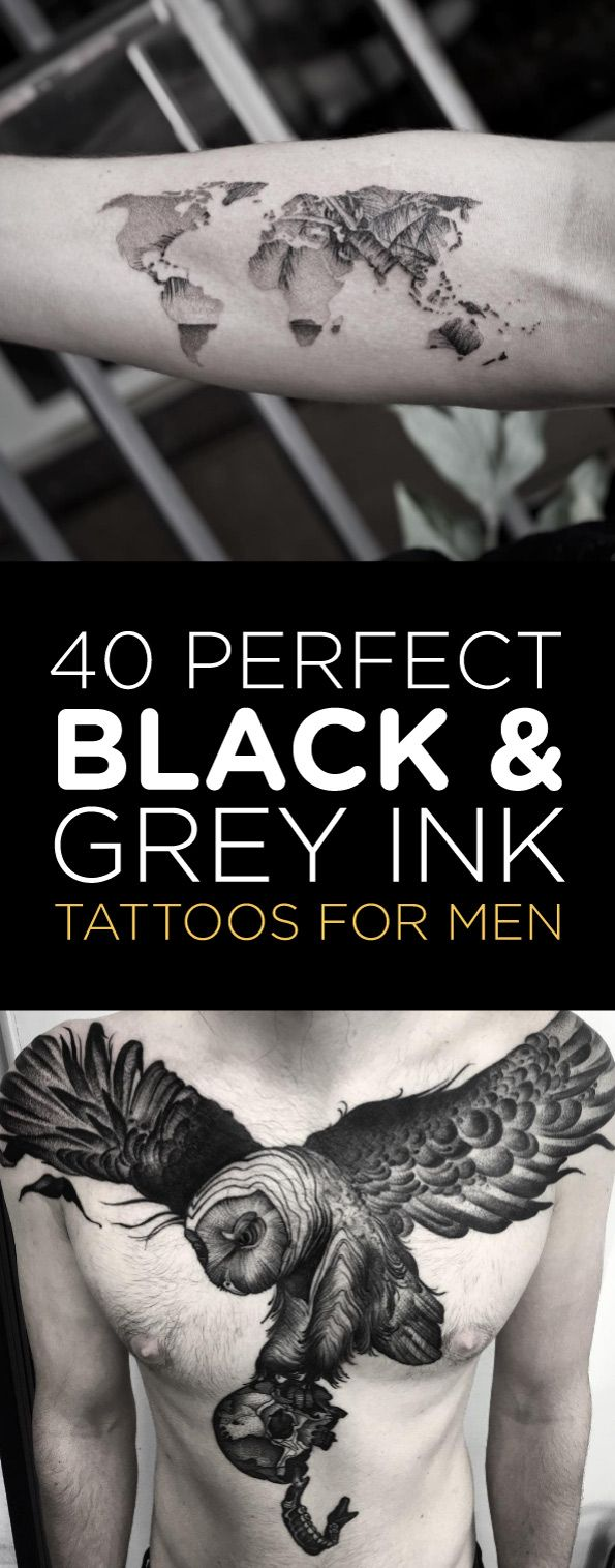 perfect black and grey ink tattoos for men