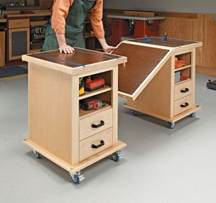 Carts could be stored under existing workbench then rolled out for additional work table