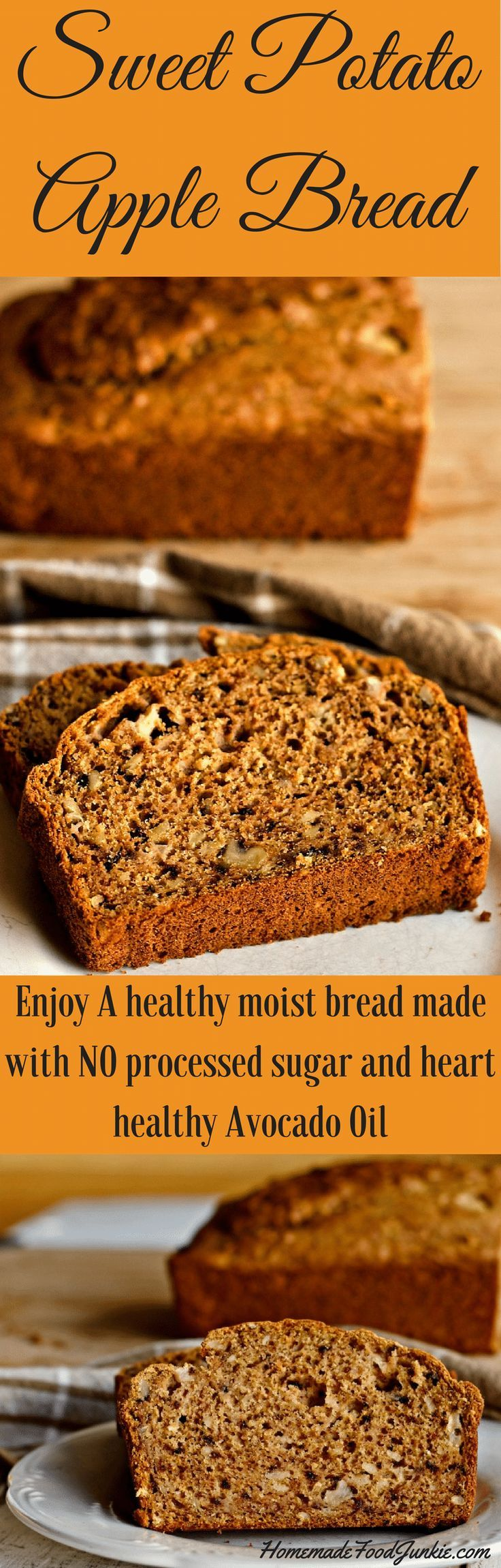 Sweet Potato Apple Bread is full of delicious, healthy, natural ingredients including avocado oil and walnut. Make your family a heart healthy, dairy free comfort food that will nourish their bodies and please their taste buds. This moist,high fiber rich