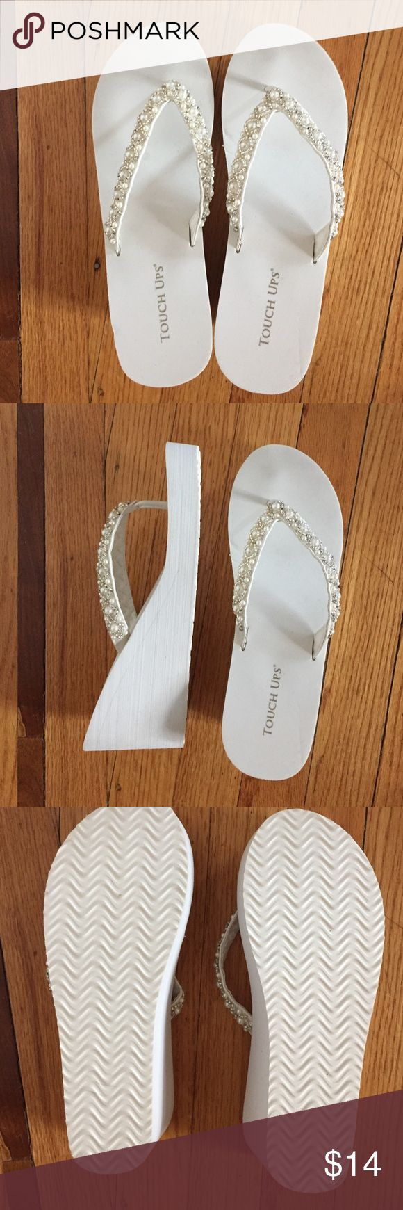 Bridal White Wedge Flip Flops Used for literally ten minutes at my own wedding and will never use again! Super comfy, clean! Touch Ups Shoes Sandals
