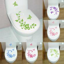 ücretsiz kargo Yeni kelebek çiçek banyo duvar çıkartmaları ev dekorasyon duvar çıkartmalar tuvalet dekoratif sticker(China (Mainland))