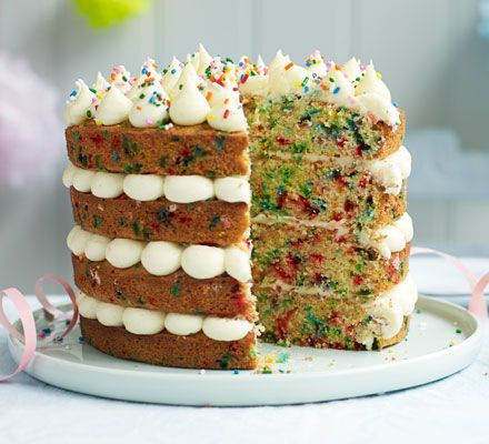 Perfect for a party, this rainbow-speckled cake screams 'celebrate'! Pipe creamy vanilla icing and scatter over sprinkles for a showstopping cake that adults and kids will love