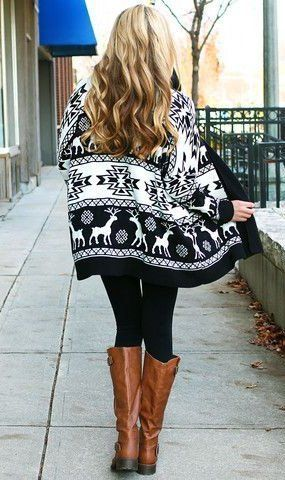 #winter #fashion /  Black & White Print Cardigan / Black Leggings / Brown Leather Boots