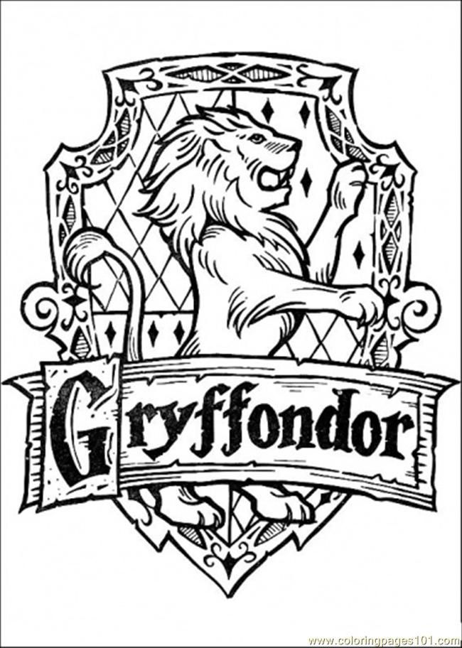 Harry potter printable coloring pages gryffindor crest