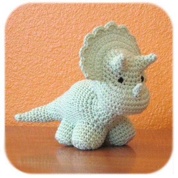 crochet triceratops in mint by HenryStMartin on Etsy