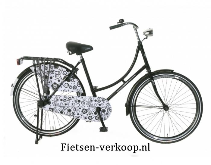 Omafiets Barok Zwart - Wit 24 Inch | bestel gemakkelijk online op Fietsen-verkoop.nl