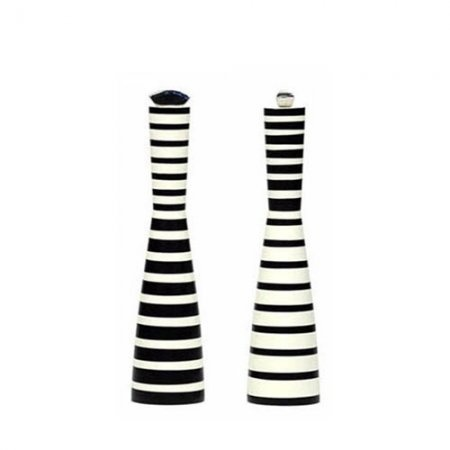 Black And White Stripped Salt Pepper Grinders Unique Shakers Grinder