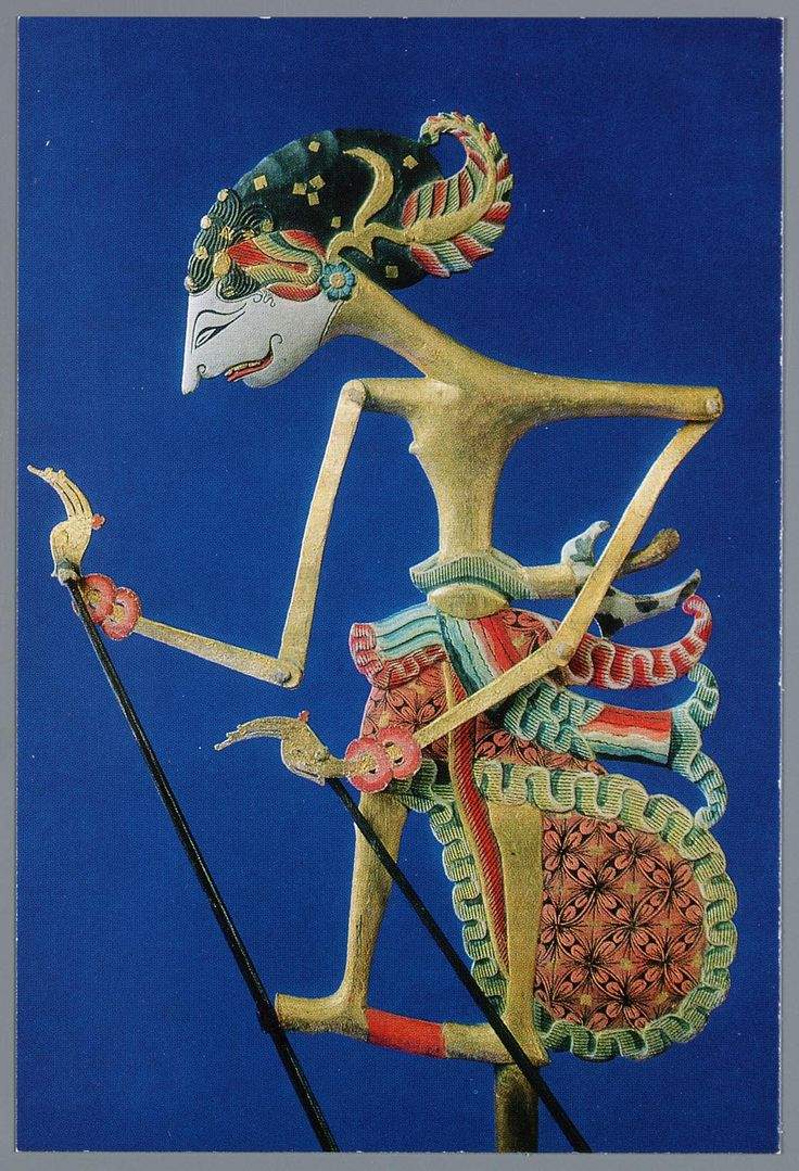 WAYANG KLITIK or WAYANG KARUCIL Wayang klitik figures occupy a middle ground between the figures of wayang golek and wayang kulit. They are constructed similarly to wayang kulit figures, but from thin pieces of wood instead of leather, and, like wayang kulit figures, are used as shadow puppets.  The name of these figures is onomotopaeic, from the sound klitik-klitik, that these figures make when worked by the dalang.