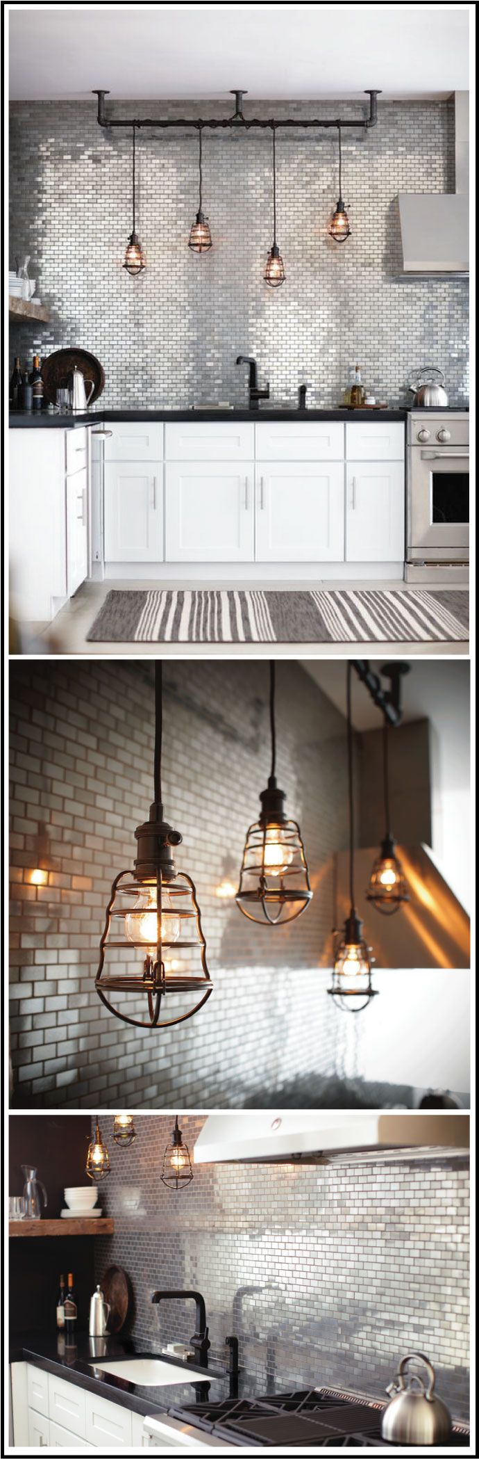 Love this Industrial style kitchen, silver tiles, black Caesar stone bench, pendant lighting and white cupboards