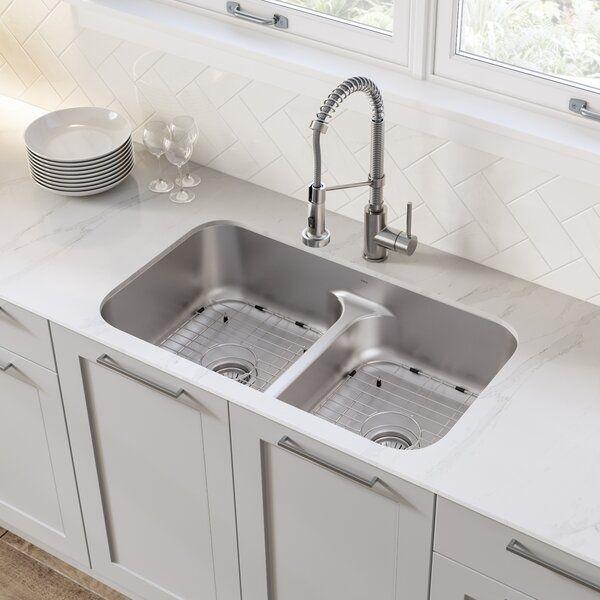 Ellis 32 L X 19 W Double Basin Undermount Kitchen Sink With
