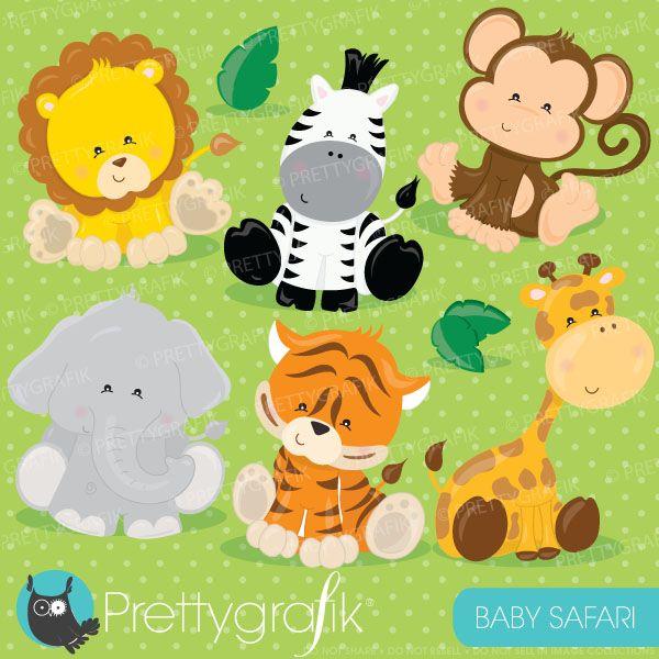 Baby safari animals clipart