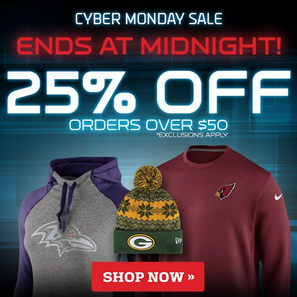 NFL Cyber Monday Sale Reminder - 25% Off