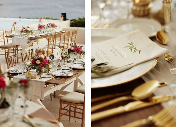 Golden details, golden cutlery, vibrant colours | Luxury wedding in Mykonos