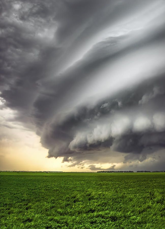 Photo by Douglas Berry - Shelf Cloud - Thunderstorm - This is a striated shelf cloud associated with a supercell thunderstorm near Kearney, NE in late May of 2008.