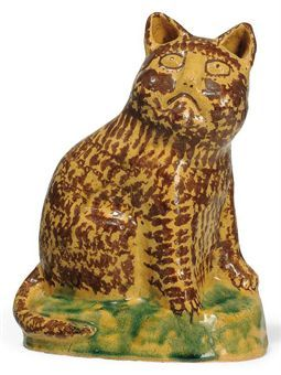 'Fed up cat' (1993) by Zambian-born South African art potter Hylton Nel (b.1941). Earthenware, 9.75 in H. via Christie's