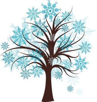 arbre dessin: Arborescence hiver décoratifs, illustration vectorielle Illustration