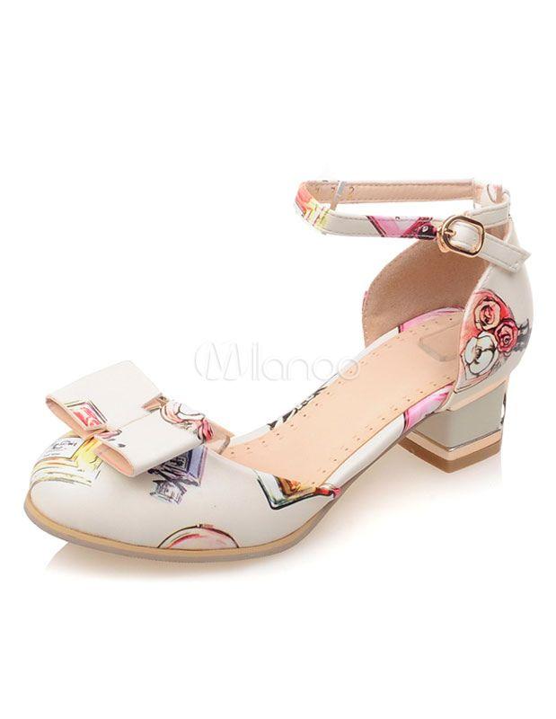 Chaussures à talons épais en PU courroie ajustable avec noeud - Milanoo.com