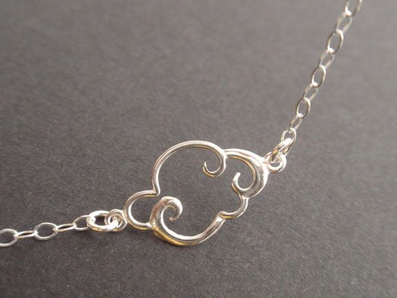 Cloud Sterling silver necklace-all silver-simple everyday jewelry on Etsy, $25.00