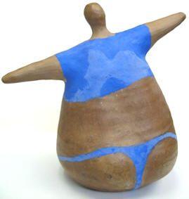 Ceramic sculpture yoga warrior poses